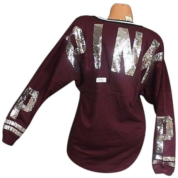 Pre-owned Victorias Secret Mpinkbling Sequin Maroon Varsity Crew... ($121) ❤ liked on Polyvore featuring tops, red, victoria secret tops, dog top, crew top, slouchy tops and purple top