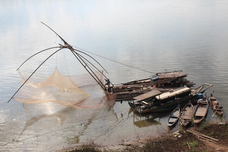 Fishermen in Kampong Cham, Cambodia