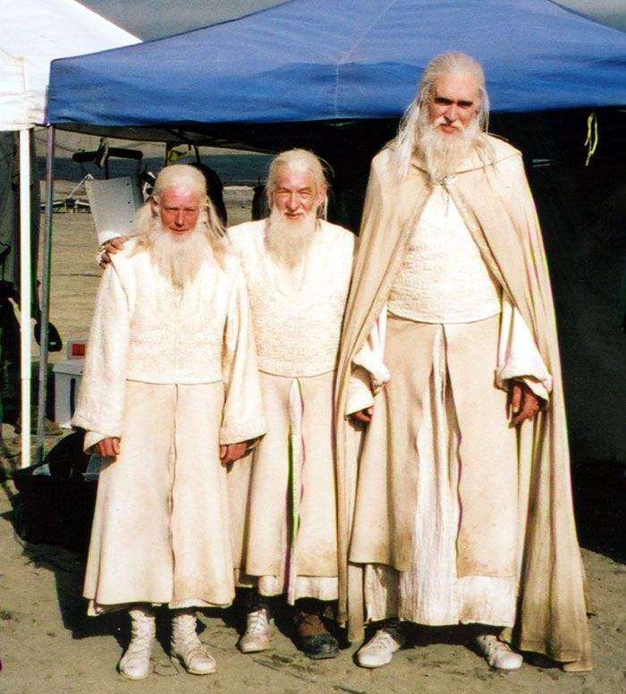 Sir Ian McKellen with his stunt double and scale double (for Hobbit scenes) during THE LORD OF THE RINGS