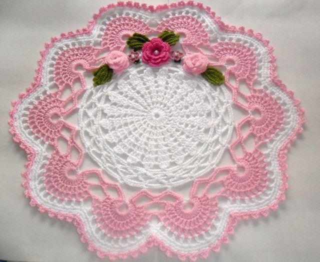 Toalha redonda em crochê com flores | Edileuza de Paula | Elo7                                                                                                                                                                                 Mais