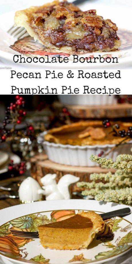 Roasted Pumpkin Pie + Chocolate Bourbon Pecan Pie recipe. Plus an all butter pie crust recipe! Easy Thanksgiving Pie recipes!
