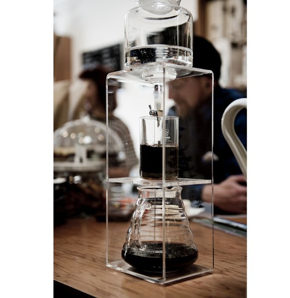 This cold dripper from Hario is both ornamental and functional, and it produces exceptional coffee. The slowly dripping cold water produces coffee low in
