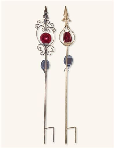 Ornate Red Solar Garden Stakes (Set Of 2) from Victorian Trading Co.