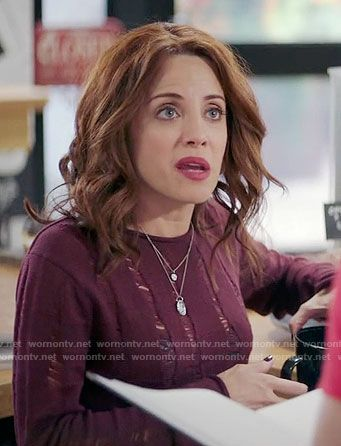 Jo's burgundy distressed sweater on Girlfriends Guide to Divorce.  Outfit Details: https://wornontv.net/65677/ #GG2D