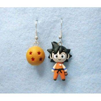 Goku + Dragon Ball, aerrings,pendientes,anime,manga,toriyama,