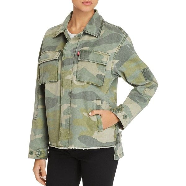 Levi's Camo-Print Utility Jacket (€120) ❤ liked on Polyvore featuring outerwear, jackets, camouflage, camo print jacket, cotton jacket, green camo jacket, levi jacket and green utility jacket