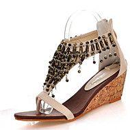 Women's+Sandals+Summer+Club+Shoes+Leatherette+Dress+Casual+Wedge+Heel+Zipper+Chain+Tassel+Black+Almond+–+USD+$+60.00