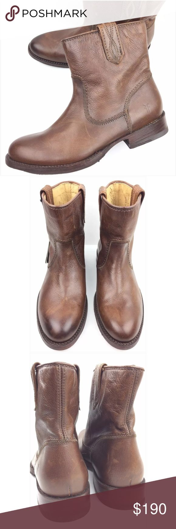 Frye Jamie Stitch Cognac Leather Short Ankle Boots Worn once   Like new condition   Boots have minor marks or scratches.   Actual pictures   Authentic   Original box not included.   Size: 5.5 woman's Frye Shoes Ankle Boots & Booties