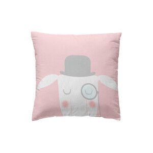 Funda de cojín rosa claro y blanco 40 x 40 cm