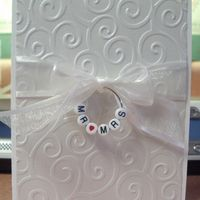 Elegant and simple. Would look adorable with baby pink or blue ribbon and BABY written on the ring!
