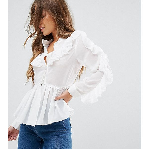 True Decadence Petite Ruffle Detail Blouse (€55) ❤ liked on Polyvore featuring tops, blouses, petite, white, long sleeve blouse, long sleeve ruffle blouse, petite long sleeve tops, white long sleeve top and petite long sleeve blouses