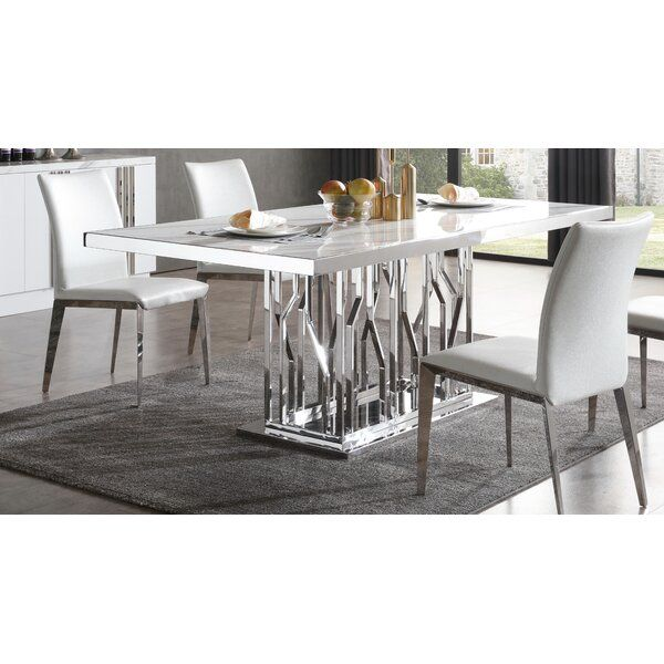 Altus Marble And Stainless Steel Dining Table Stainless Steel