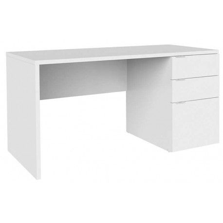 Mesa Escritorio de Despacho Bromby 2 está compuesta por aglomerado melaminizado en color blanco o wengué con tres cajones con guias.