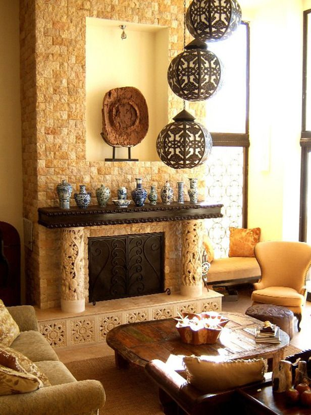 Indonesian Inspiration: RMS user BoBendana used neutral and organic colors for this Bali-based living room. The tiled fireplace is flanked by two stone carvings (displaying a medley of Pacific Ocean life), but it's the Moroccan metal chandelier that steals the show.