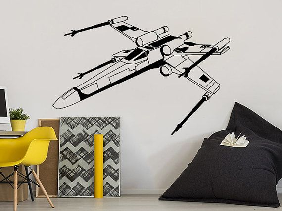 Star Wars Wall Decals Xwing Vinyl Sticker Decal X-Wing Fighter Children Kids Teens Boys Room Nursery Bedroom Decor Window Dorm NV56