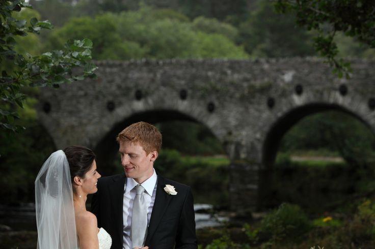 Intimate look between bride & groom