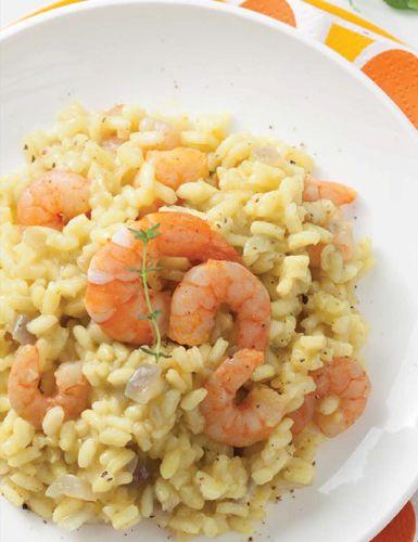 Receita: risoto de camarão com curry e canela