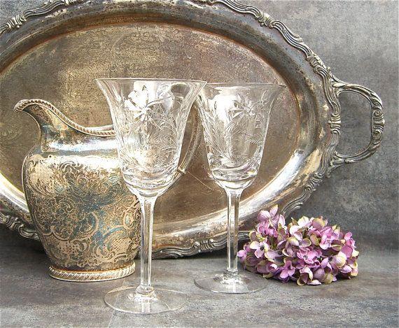 Nice Vintage Cut Crystal Goblets Wedding Toast Tiffin By SilverAndBone