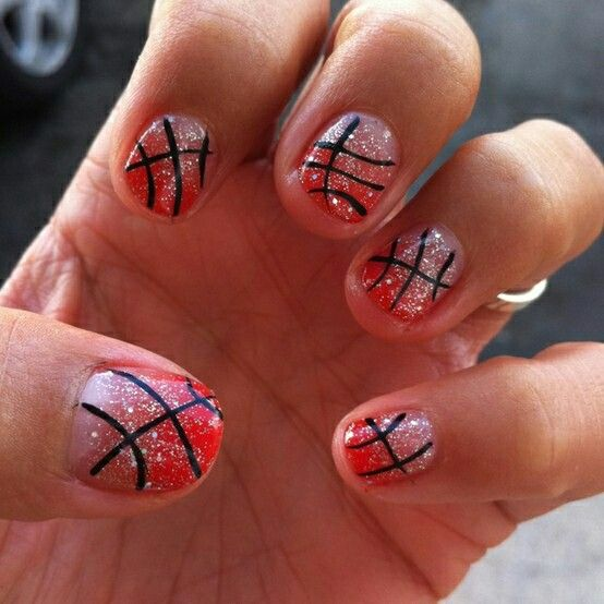 Red basketball nails