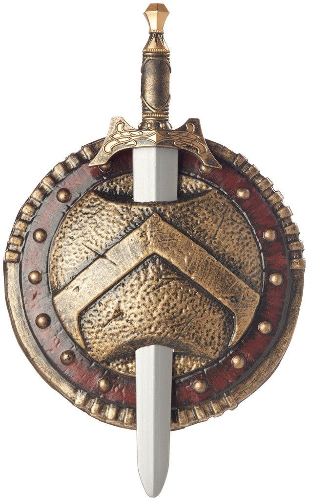 Spartan Combat Shield and Sword Includes shield and sword. Weight (lbs) 0.65 Length (inches) 19 Width (inches) 13 Height(inches) 2.75
