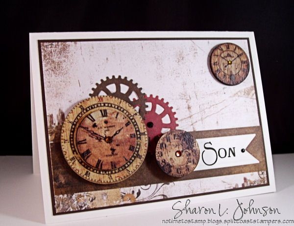 A clean and simple masculine card using Prima Wood Clocks, dies by Spellbinders and paper by Bo Bunny, all available at The Stamp Simply Ribbon Store.