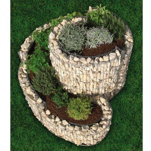 Gabion mur spirale aromatique 1 10ml galets pinterest for Jardin aromatique