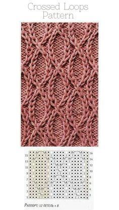 Crossed Loops (traveling stitches) knitting pattern with graph. nice for socks