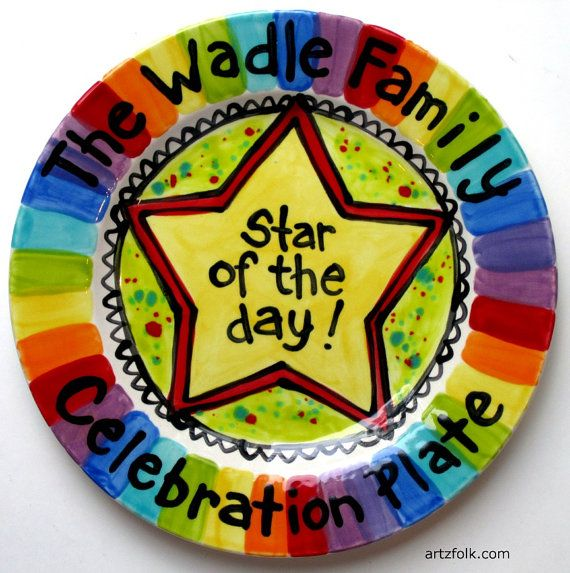 Family Name CUSTOM rainbow Large 10\  Star of the day Plate Personalized celebration dish. Painted PlatesCeramic ...  sc 1 st  Pinterest & 141 best Paint Your own plate images on Pinterest | Dishes Pottery ...