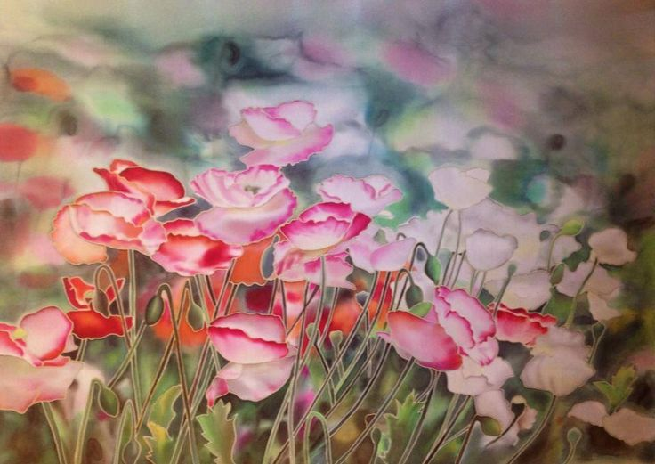 """ Poppies  "",  Silk, painting"