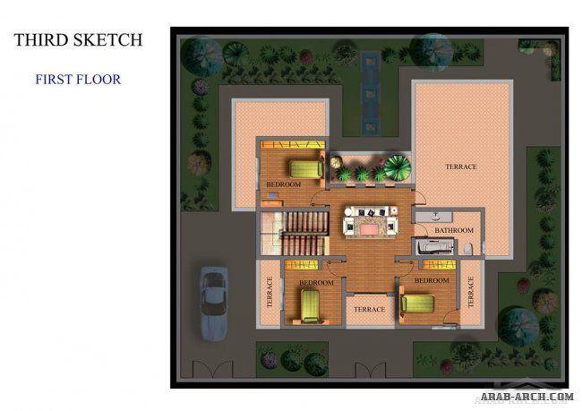 سكاتشات فيلا في طرابلس مساحة الارض 300 م مكتب أركان للتصاميم الهندسية و الديكورات House Design House Design