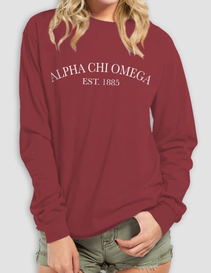 Buy one for yourself: Alpha Chi Omega Pigment Dyed Crest Long Sleeve $22 - order open until 11/5. Once the order closes, the shirt ships directly to your door if the estimate is reached. ♥ Custom Greek Apparel & Sorority Clothes