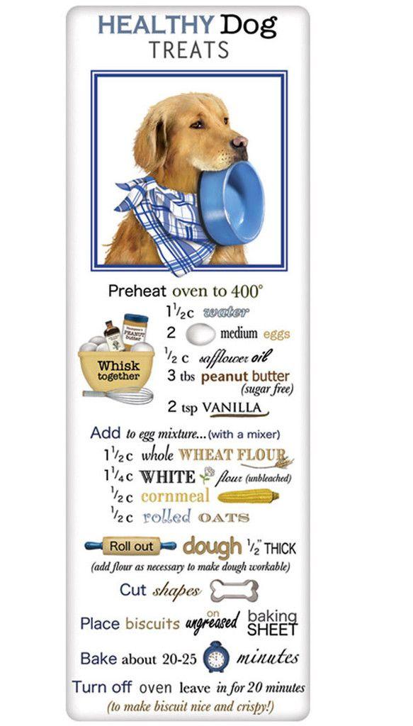 Golden Retriever Healthy Dog Treats Recipe 100% Cotton Flour Sack Dish Towel Tea Towel