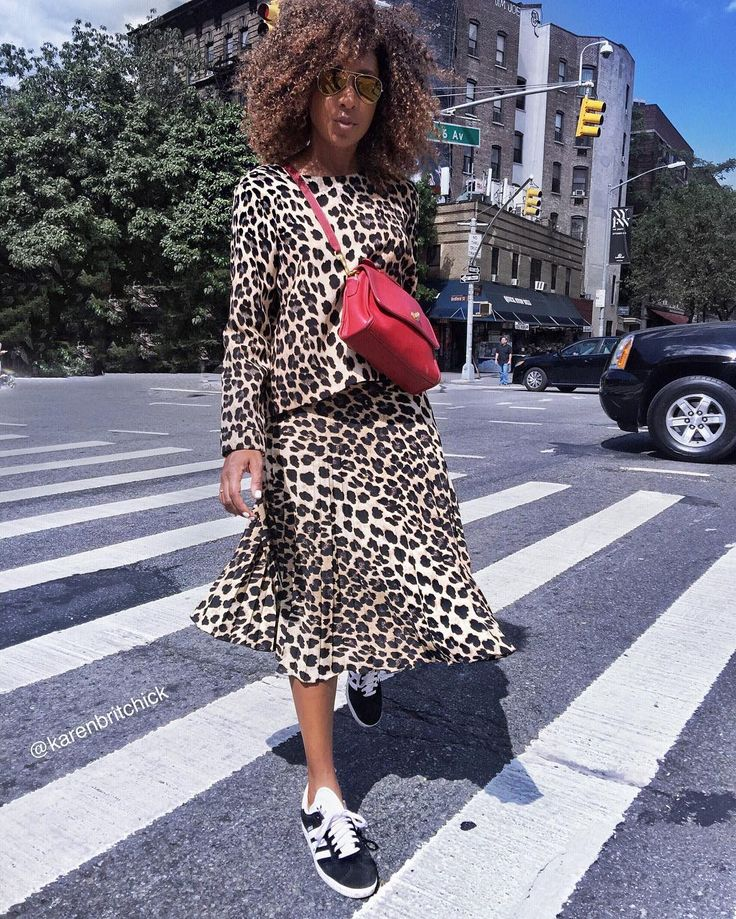 MOOD: There's no such thing as too much leopard print.  Love how Karen of Where Did U Get That styles this ensemble with trainers.