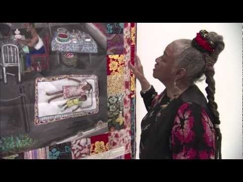 "Faith Ringgold talks about ""Creating Tar Beach"" (her famous, magical, quilt with a painted center depicting a family picnicing at night on a NYC rooftop, the kids lying on a pallet of quilts looking up at the stars.)"