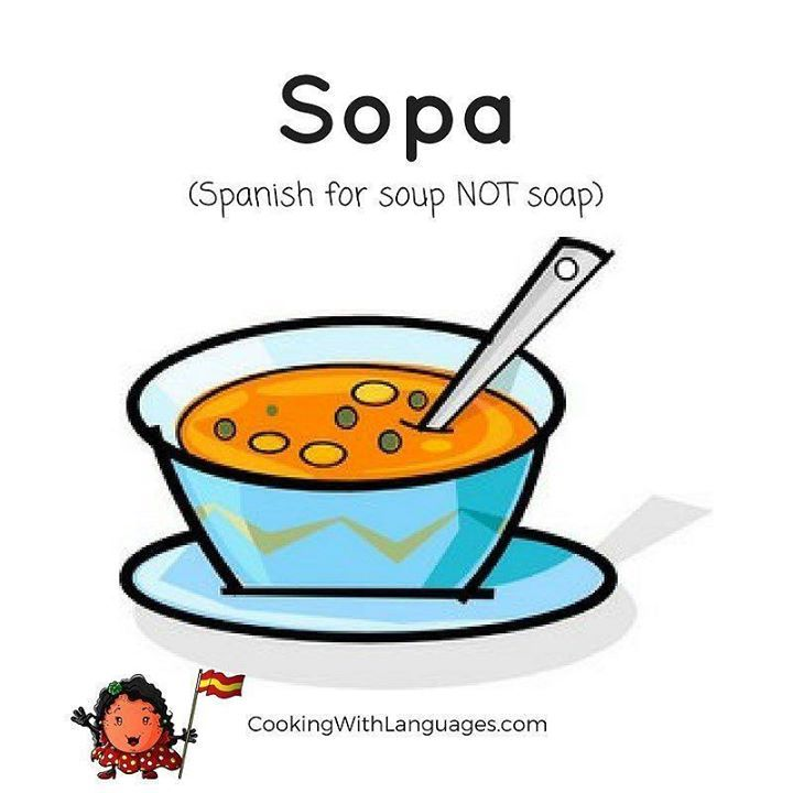"Don't ask for ""sopa"" to wash your  face  cara !   There are many   false friends   amigos falsos ... to be aware of when learning a  language  idioma.  We share   food related ones ... We make #languagelearning fun!   Watch out for our #crowdfunding campaign for new and exciting ideas! http://ift.tt/2ivseR7"
