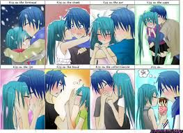 Different types of kisses between Kaito and Miku  Different types...