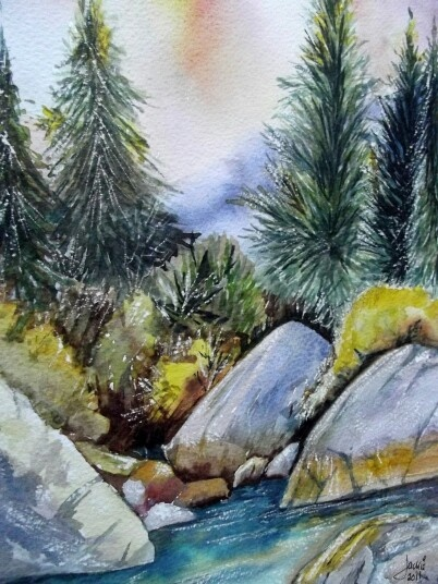 Pine trees by the stream. Watercolour.