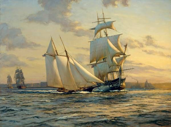 """The schooner """"America"""" crossing the bow of the frigate """"Constitution"""", early in the morning of the summer of 1865. In the background, on the left hand side, are the two sloops of war, """"Marion"""" and """"Macedonian"""". Painting by A.D. Blake."""