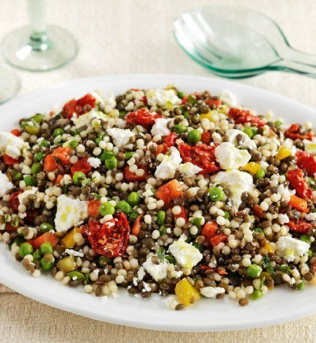 Goat's Cheese & Lentil Salad - M&S Ingredients: Cooked Green Lentils, Cooked Giant Couscous, Durum Wheat Semolina.Peas. Salted Goats Cheese. Lemon and Basil Oil Dressing contains Acacia Honey, Lemon Juice , Basil Infused Sunflower Oil , White Wine Vinegar, Sunflower Oil , Salt , Ground Black Pepper, Lemon Zest.Red Peppers.Yellow Peppers.Slow Roasted Tomatoes, Sunflower Oil, Sugar, Salt, Oregano, Garlic, Lemon Juice.Parsley.Sunflower Oil.Lemon Juice.