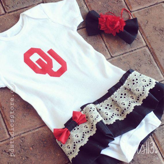 Girl Oklahoma Sooners, Football University Theme Dress with Lace Ruffles, Bow and Headband on Etsy