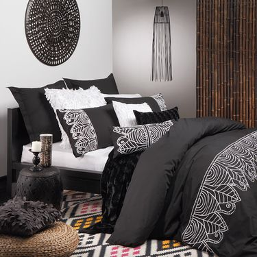 Logan & Mason Ultima Zulu Quilt Cover Set Black   Spotlight Australia