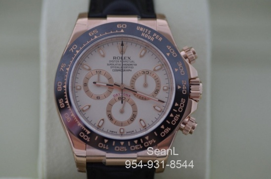 Rolex Daytona 116515 Everose/ Ceramic Ivory Dial 18k Rose Gold 40mm  http://www.collectionoftime.com/specification.php?wid=277=21