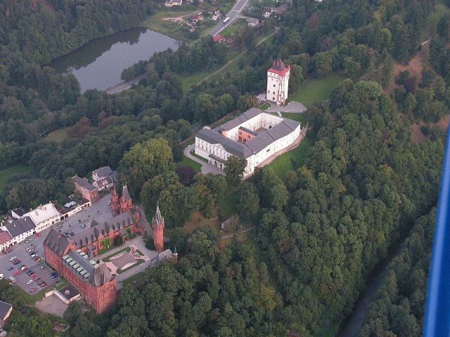 Hradec nad Moravici the white and red castles.