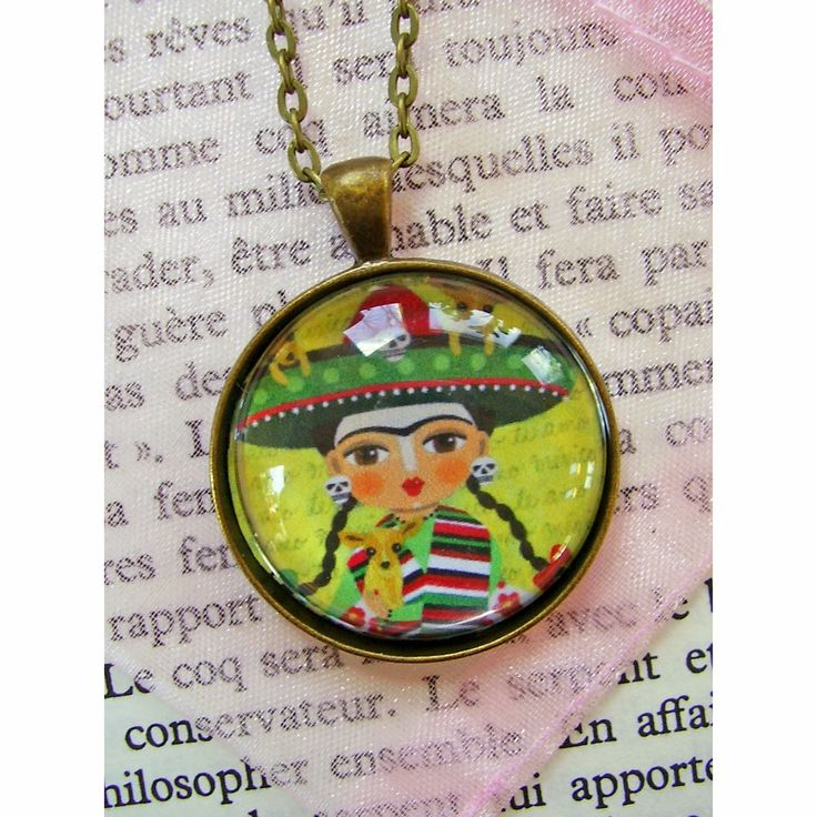 NEW in Mypinkturtleshop ! Frida Kahlo with Chihuahuas Bronze Pendant with chain ! by LuLu Mypinkturtle !