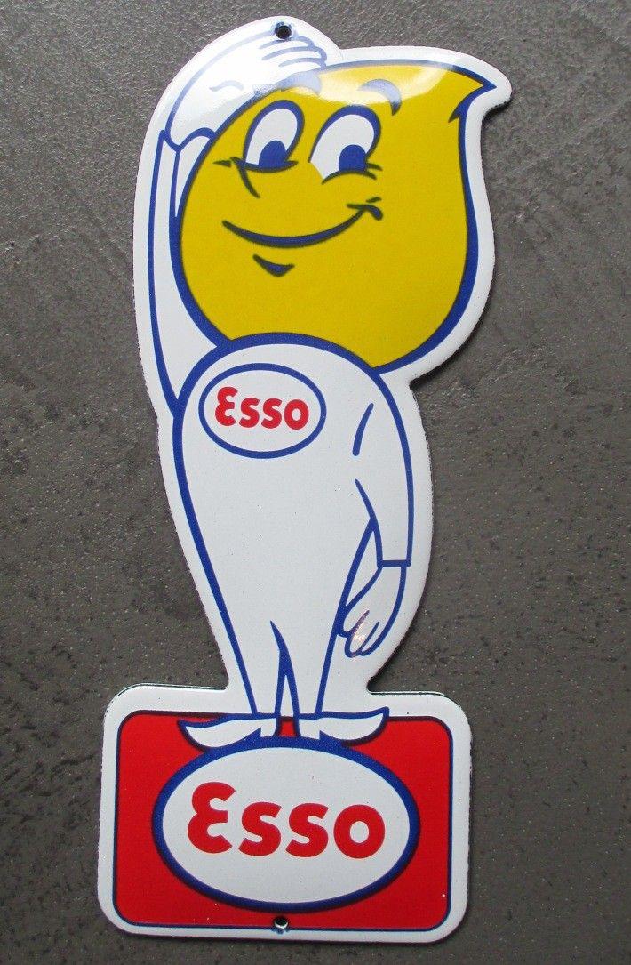 Esso Essence Tigre Huile de Moteur Ancienne 40 Annonce Grand Vintage Garage