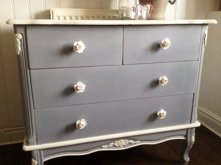 Autentico French grey chest pretty flower Handles and decoupage drawers painted by  Home Revival follow is on Facebook Pinterest or Twitter