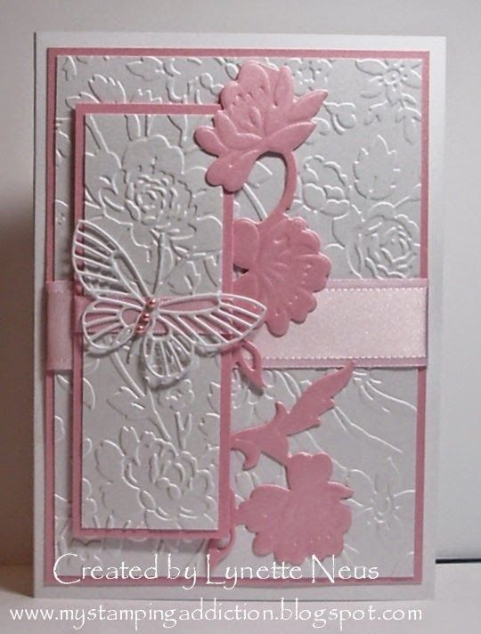 handmade card from My Stamping Addiction ... Anna Griffen embossing folder flowers ... pink and whtie ... gorgeous!