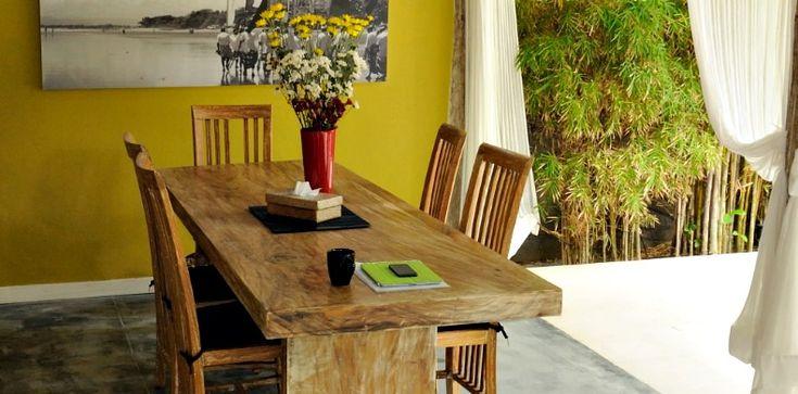 Dining table in Villa Adagian, Bali.  bali villa adagian dinner table #bali #VillaAdagian #luxuryvilla #food #comfortable #eateateat