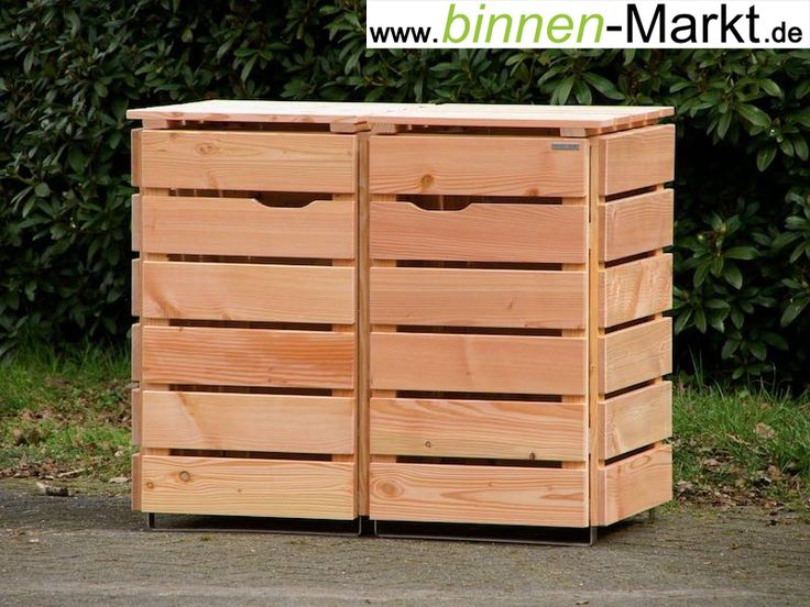 m lltonnenverkleidung 2er m lltonnenbox transparent ge lt natur aus wetterfestem holz. Black Bedroom Furniture Sets. Home Design Ideas