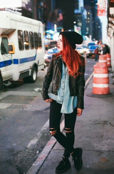 Luanna Perez - Denim shirt, black skinny jeans (ripped), TUK Creepers, black leather jacket. I'll have to try this outfit. I only need to get a black slouchy beanie :)